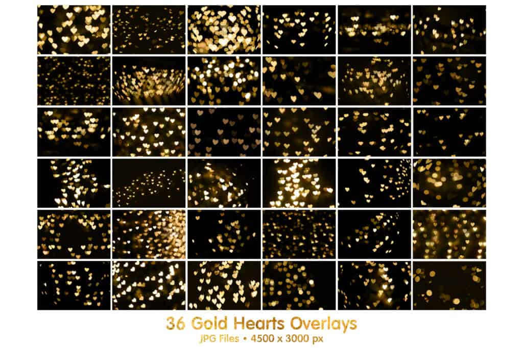 gold hearts prv2 1024x683 - 36 Gold Hearts Bokeh Overlays