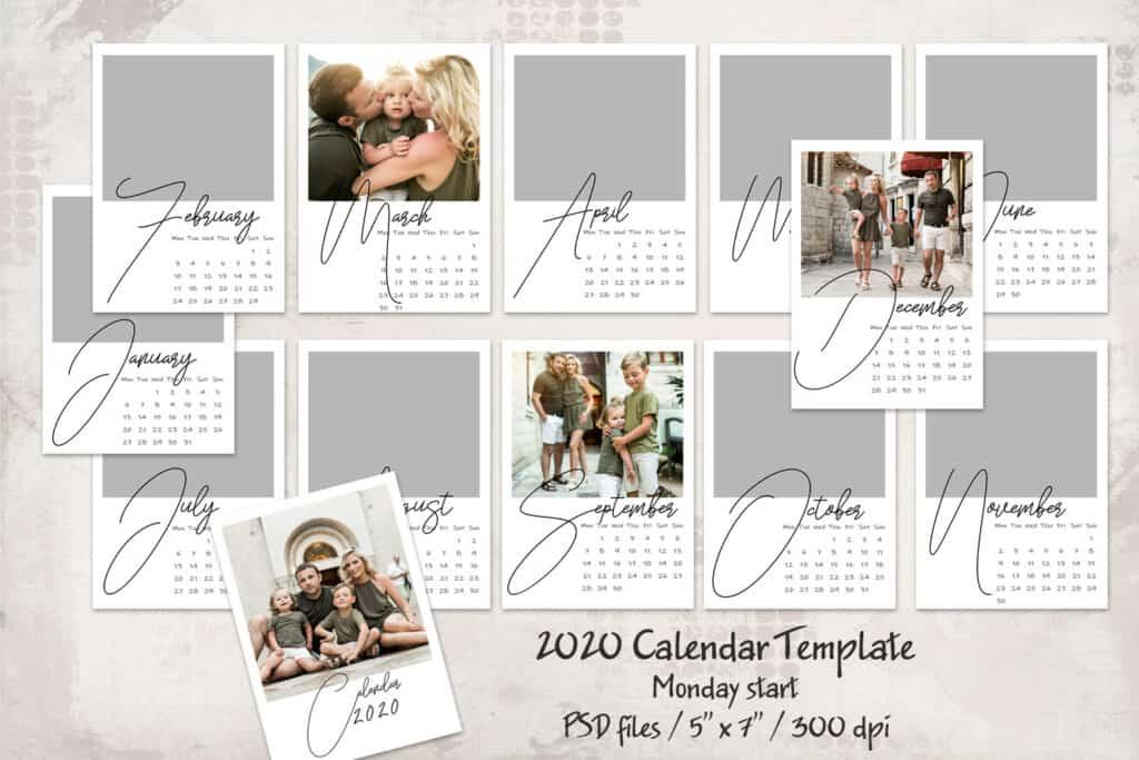 2020 prv 1 1024x683 - 2020 Calendar Template - Monday start - 5x7