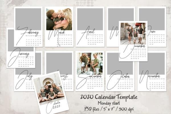 2020 Calendar Template – Monday start – 5×7