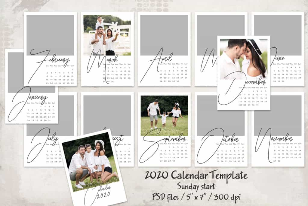 2020 prv1 1024x683 - 2020 Calendar Template - Sunday start - 5x7