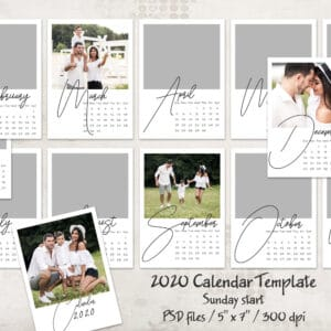 2020 prv1 300x300 - 2020 Calendar Template - Sunday start - 5x7