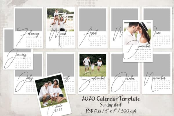 2020 prv1 600x400 - 2020 Calendar Template - Sunday start - 5x7