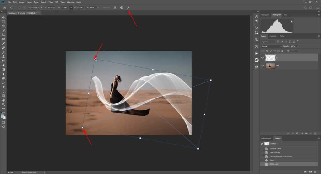 fabric tut 02 1024x555 - How to add a flying fabric overlay to image in Photoshop