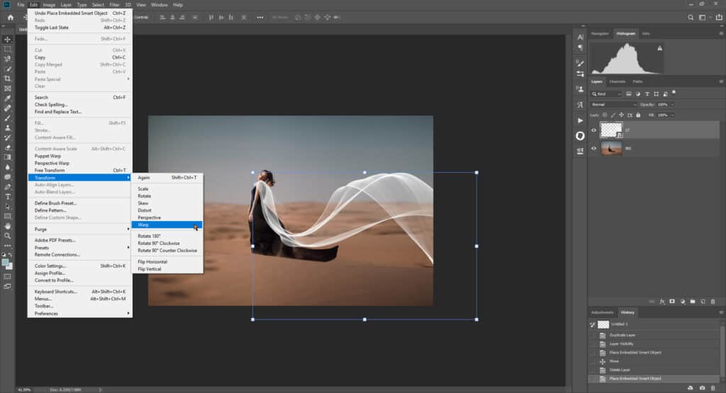 fabric tut 03 1024x555 - How to add a flying fabric overlay to image in Photoshop