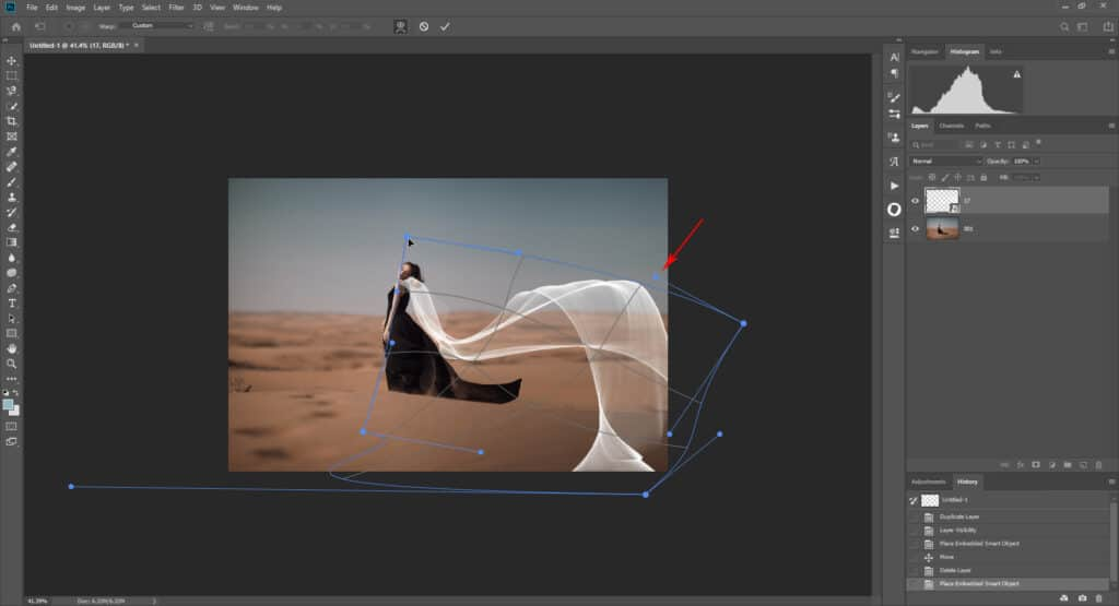 fabric tut 04 1024x555 - How to add a flying fabric overlay to image in Photoshop