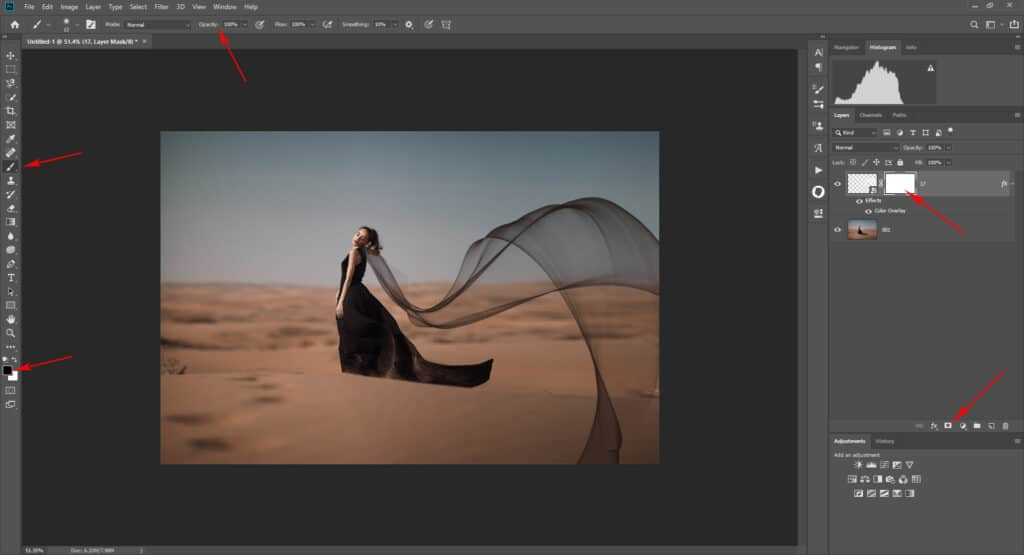 fabric tut 07 1024x555 - How to add a flying fabric overlay to image in Photoshop