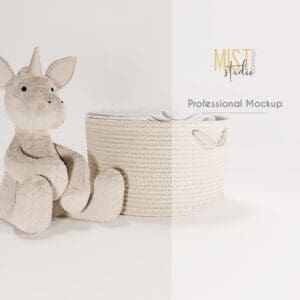 Hamper and unicorn mockup. Digital Backdrop