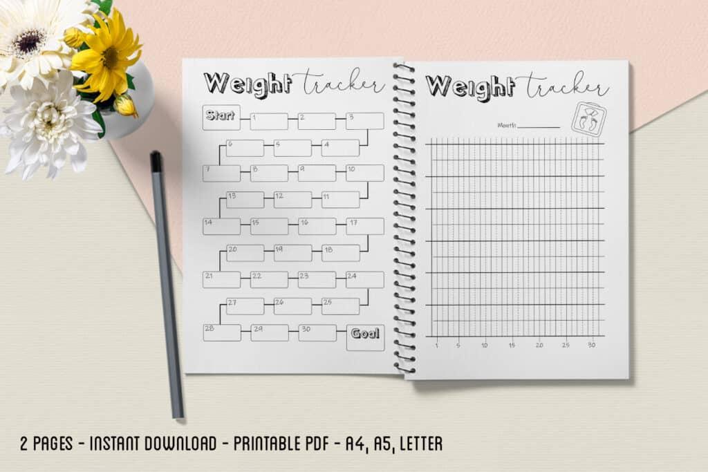 Weight Tracker 2 1024x683 - Weight Loss Tracker Planner