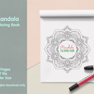 "prv1 1 300x300 - Mandala Coloring Book PDF, 20 Pages,  8.5 "" x 11"", Printable Digital Hand Drawn Coloring Pages, relaxation coloring for adults"