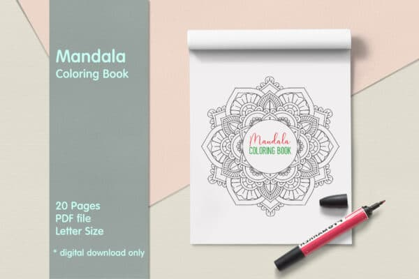 "Mandala Coloring Book PDF, 20 Pages,  8.5 "" x 11″, Printable Digital Hand Drawn Coloring Pages, relaxation coloring for adults"