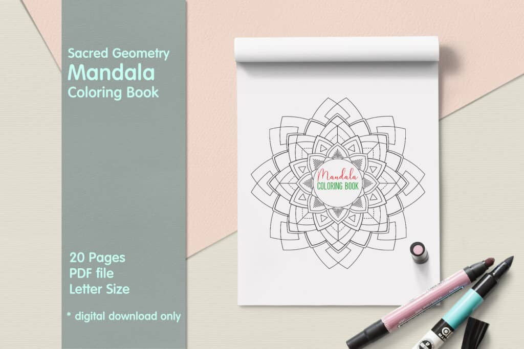 "prv1 1024x683 - Sacred Geometry Mandala Coloring Book PDF 20 Pages 8.5"" x 11"" Printable Digital Hand Drawn Coloring Pages, relaxation coloring for adults"