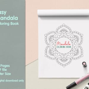 "prv1 3 300x300 - Easy Mandala Coloring Book PDF, 20 Pages,  8.5 "" x 11"", Printable Digital Hand Drawn Coloring Pages, Stress relief and relaxation Pages"
