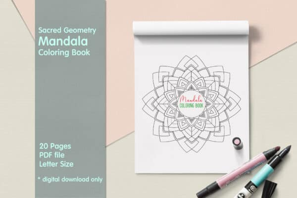 "Sacred Geometry Mandala Coloring Book PDF 20 Pages 8.5 "" x 11″ Printable Digital Hand Drawn Coloring Pages, relaxation coloring for adults"