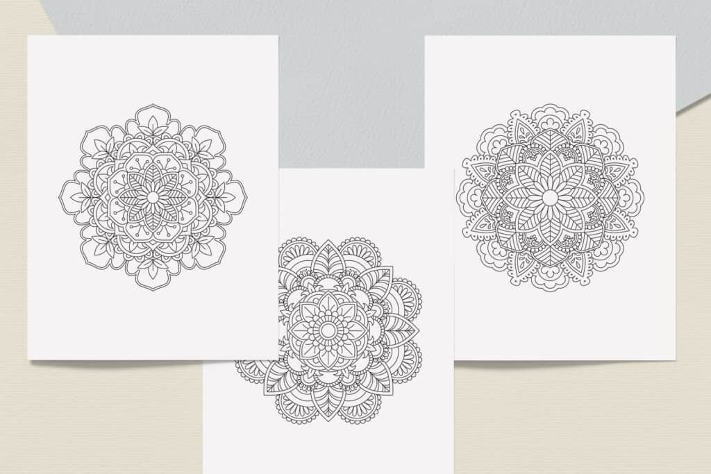 """prv2 1 1024x683 - Mandala Coloring Book PDF, 20 Pages, 8.5"""" x 11"""", Printable Digital Hand Drawn Coloring Pages, relaxation coloring for adults"""