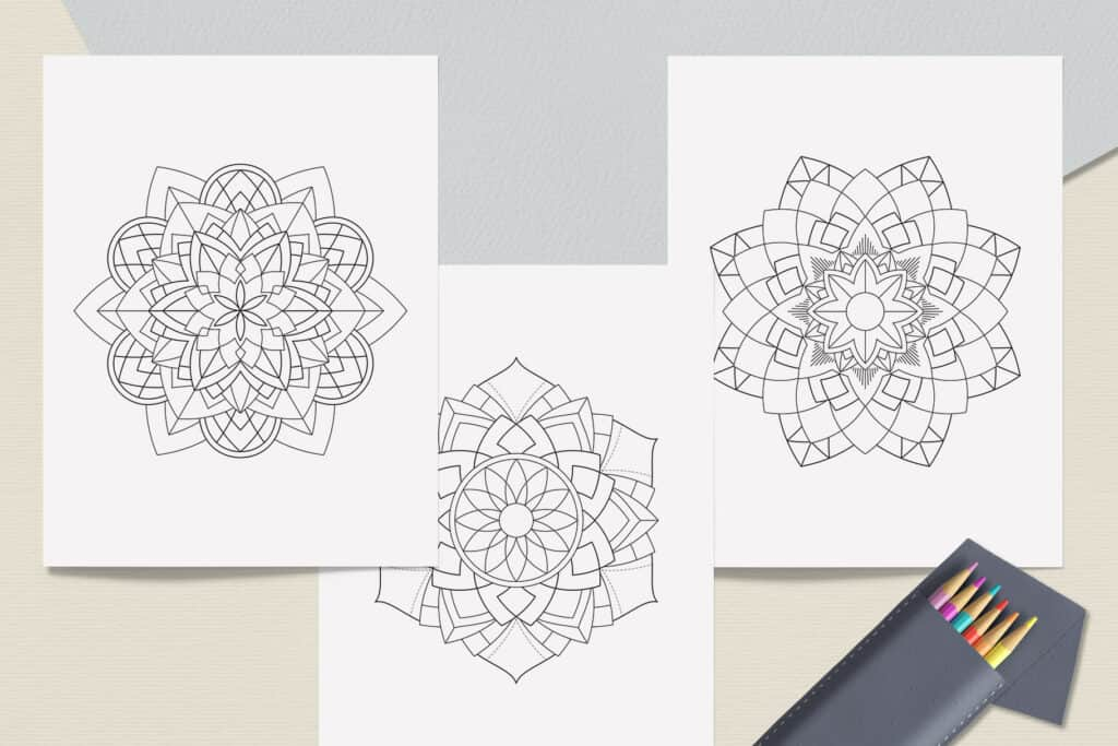 "prv2 1024x683 - Sacred Geometry Mandala Coloring Book PDF 20 Pages 8.5"" x 11"" Printable Digital Hand Drawn Coloring Pages, relaxation coloring for adults"