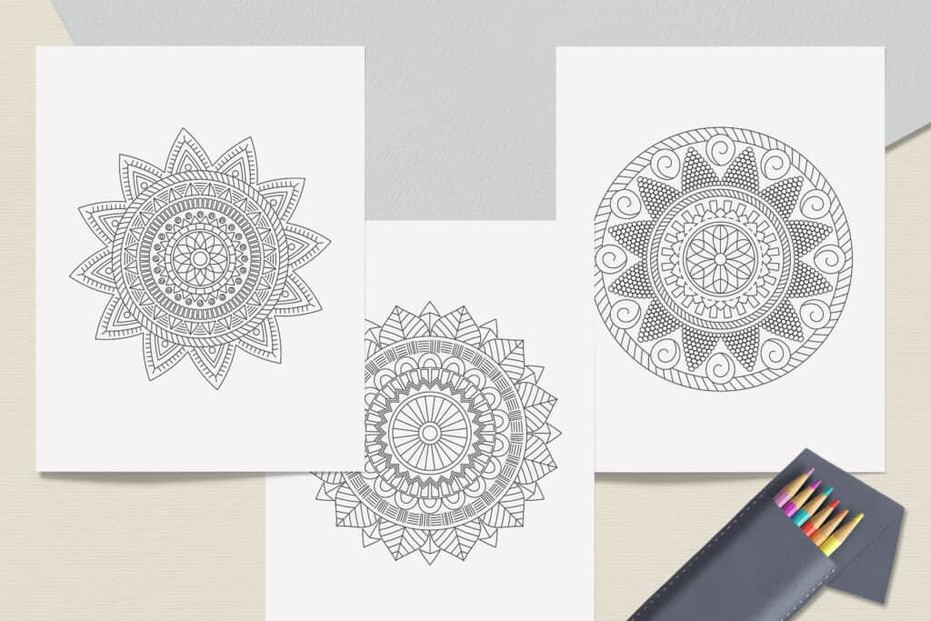 "prv2 2 1024x683 - Ethnic Mandala Coloring Book PDF, 20 Pages, 8.5"" x 11"", Printable Digital Hand Drawn Coloring Pages, Stress relief and relaxation Pages"