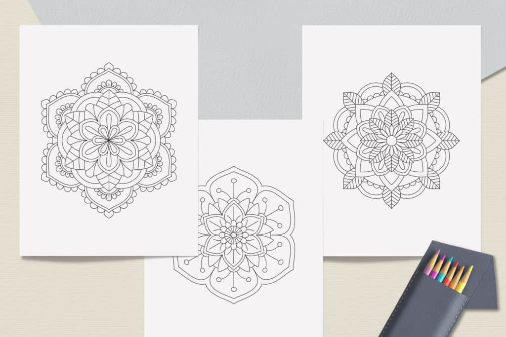 "prv2 3 1024x683 - Easy Mandala Coloring Book PDF, 20 Pages,  8.5 "" x 11"", Printable Digital Hand Drawn Coloring Pages, Stress relief and relaxation Pages"