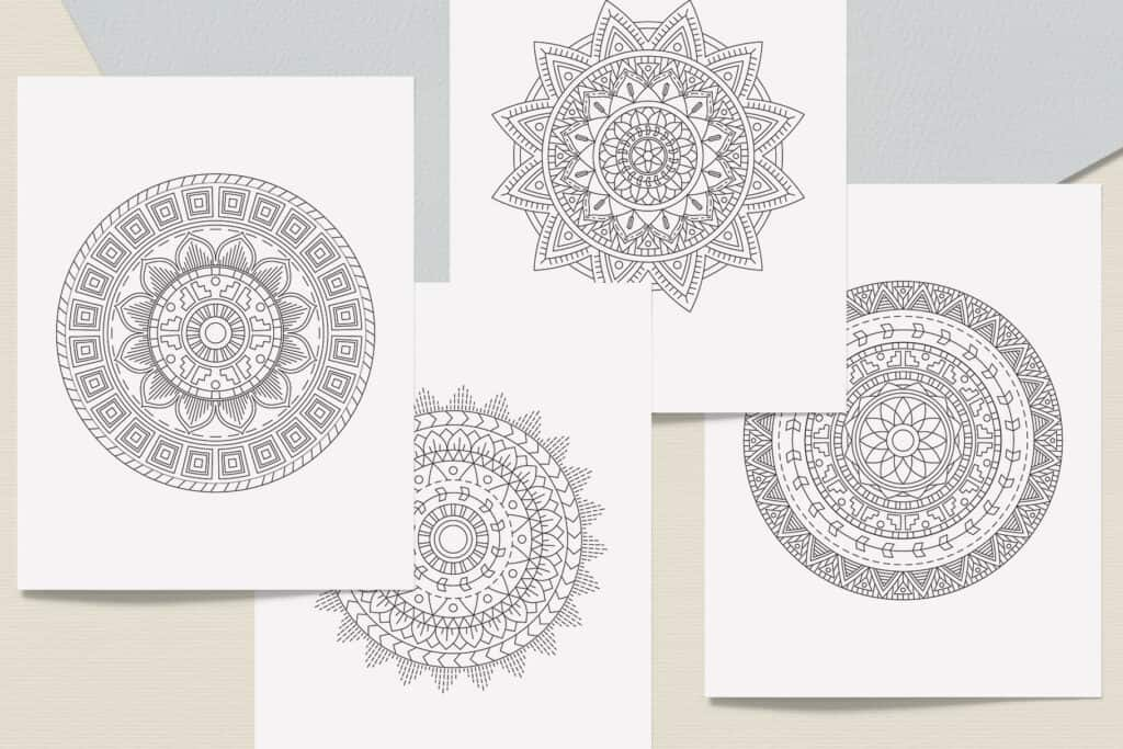 "prv3 2 1024x683 - Ethnic Mandala Coloring Book PDF, 20 Pages, 8.5"" x 11"", Printable Digital Hand Drawn Coloring Pages, Stress relief and relaxation Pages"