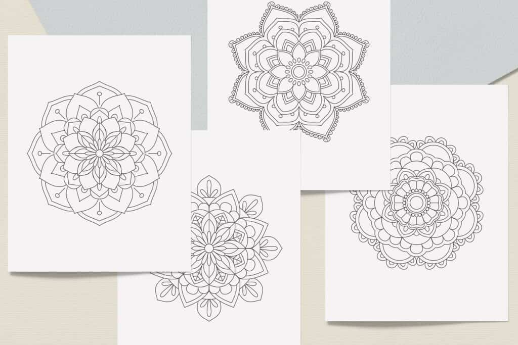 "prv3 3 1024x683 - Easy Mandala Coloring Book PDF, 20 Pages,  8.5 "" x 11"", Printable Digital Hand Drawn Coloring Pages, Stress relief and relaxation Pages"