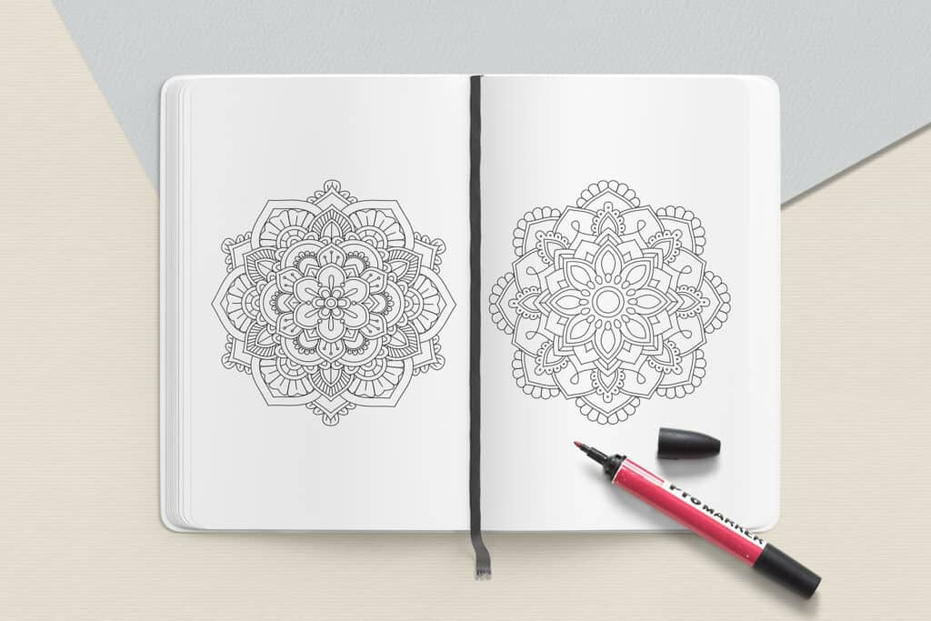 "prv4 1 1024x683 - Mandala Coloring Book PDF, 20 Pages,  8.5 "" x 11"", Printable Digital Hand Drawn Coloring Pages, relaxation coloring for adults"