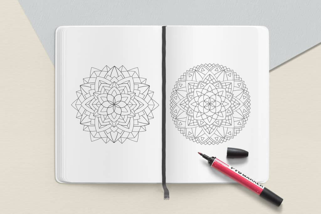 "prv4 1024x683 - Sacred Geometry Mandala Coloring Book PDF 20 Pages 8.5"" x 11"" Printable Digital Hand Drawn Coloring Pages, relaxation coloring for adults"