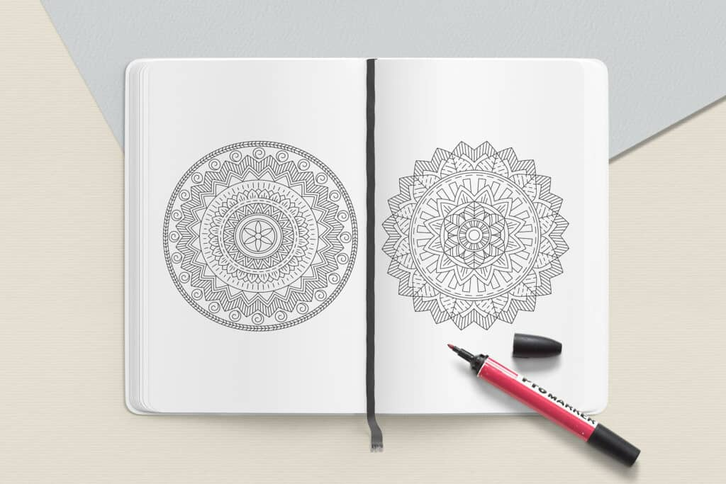 "prv4 2 1024x683 - Ethnic Mandala Coloring Book PDF, 20 Pages, 8.5"" x 11"", Printable Digital Hand Drawn Coloring Pages, Stress relief and relaxation Pages"