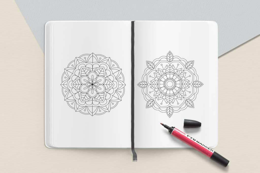 "prv4 3 1024x683 - Easy Mandala Coloring Book PDF, 20 Pages,  8.5 "" x 11"", Printable Digital Hand Drawn Coloring Pages, Stress relief and relaxation Pages"