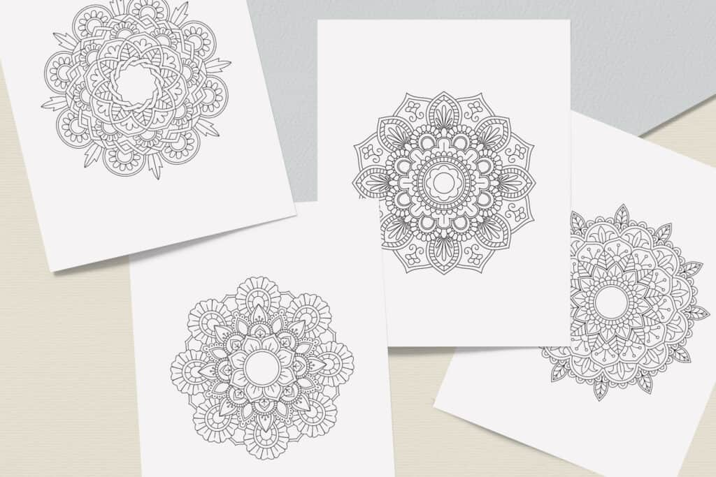 """prv5 1 1024x683 - Mandala Coloring Book PDF, 20 Pages, 8.5"""" x 11"""", Printable Digital Hand Drawn Coloring Pages, relaxation coloring for adults"""