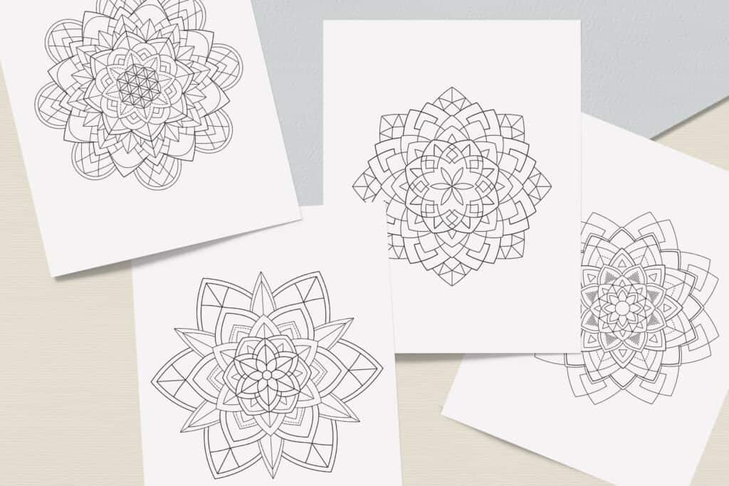 "prv5 1024x683 - Sacred Geometry Mandala Coloring Book PDF 20 Pages 8.5"" x 11"" Printable Digital Hand Drawn Coloring Pages, relaxation coloring for adults"