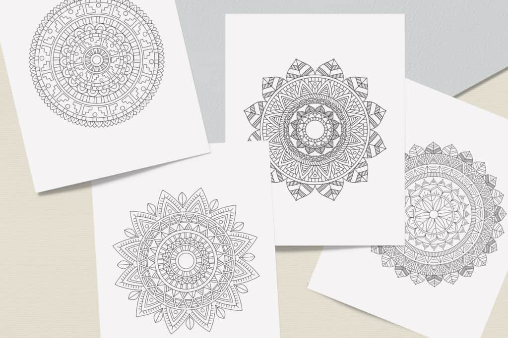 "prv5 2 1024x683 - Ethnic Mandala Coloring Book PDF, 20 Pages, 8.5"" x 11"", Printable Digital Hand Drawn Coloring Pages, Stress relief and relaxation Pages"