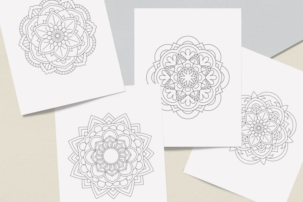 "prv5 3 1024x683 - Easy Mandala Coloring Book PDF, 20 Pages,  8.5 "" x 11"", Printable Digital Hand Drawn Coloring Pages, Stress relief and relaxation Pages"