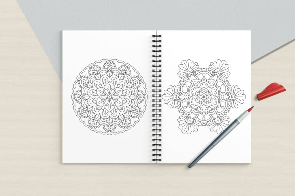 """prv6 1 1024x683 - Mandala Coloring Book PDF, 20 Pages, 8.5"""" x 11"""", Printable Digital Hand Drawn Coloring Pages, relaxation coloring for adults"""
