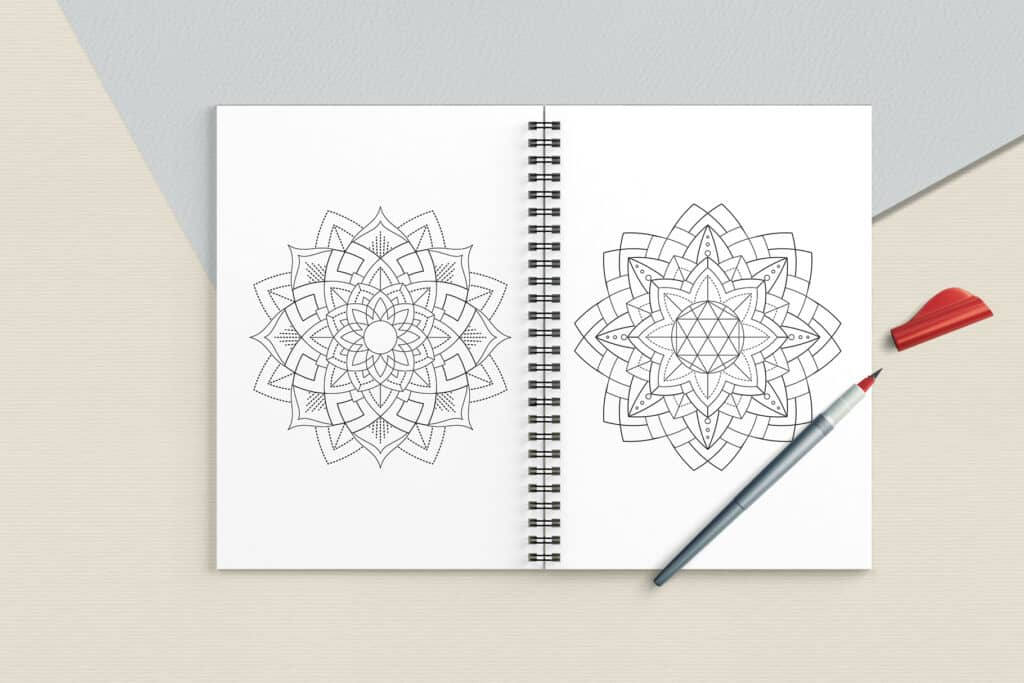 "prv6 1024x683 - Sacred Geometry Mandala Coloring Book PDF 20 Pages 8.5"" x 11"" Printable Digital Hand Drawn Coloring Pages, relaxation coloring for adults"