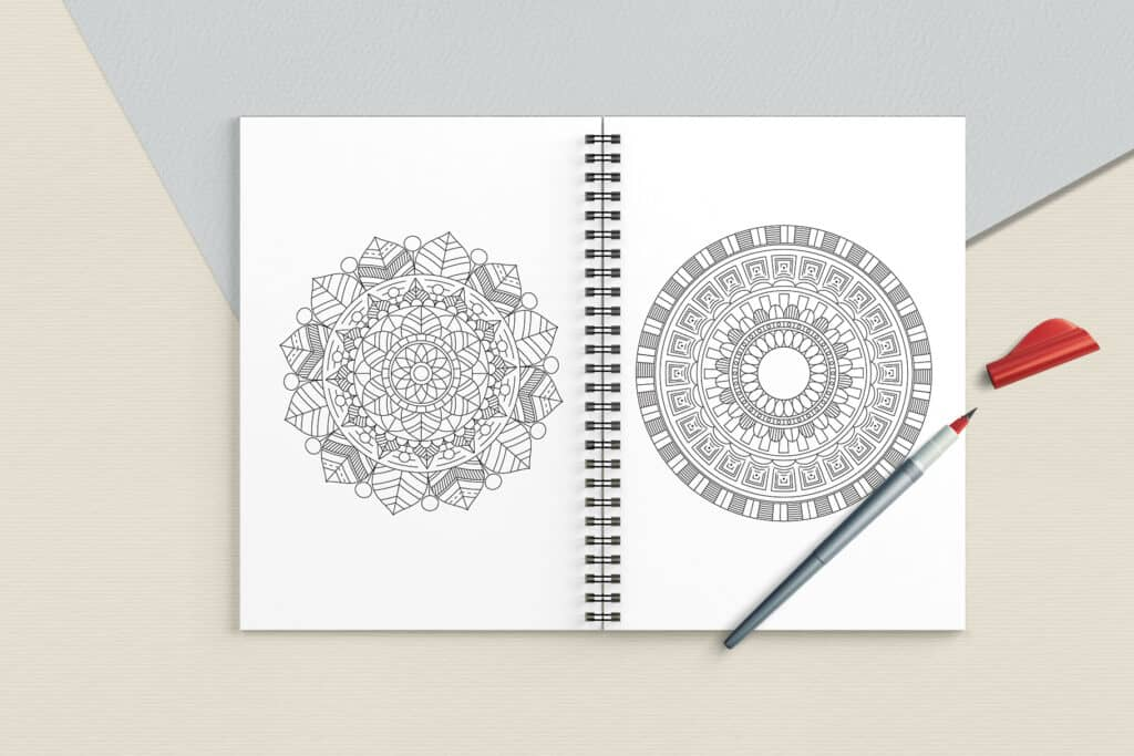 "prv6 2 1024x683 - Ethnic Mandala Coloring Book PDF, 20 Pages, 8.5"" x 11"", Printable Digital Hand Drawn Coloring Pages, Stress relief and relaxation Pages"