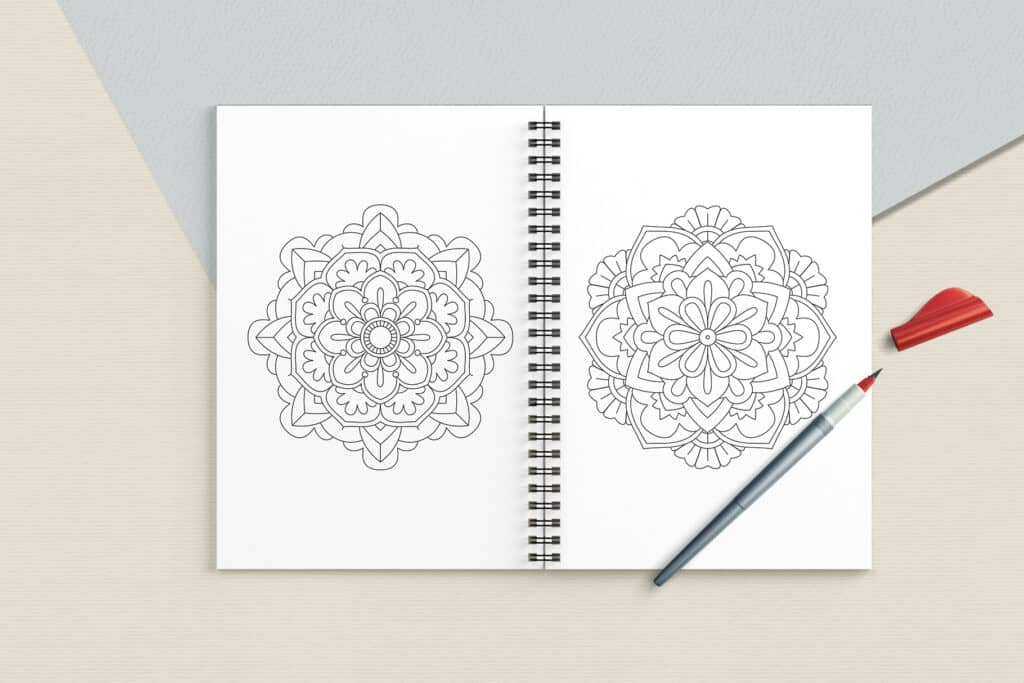 "prv6 3 1024x683 - Easy Mandala Coloring Book PDF, 20 Pages,  8.5 "" x 11"", Printable Digital Hand Drawn Coloring Pages, Stress relief and relaxation Pages"
