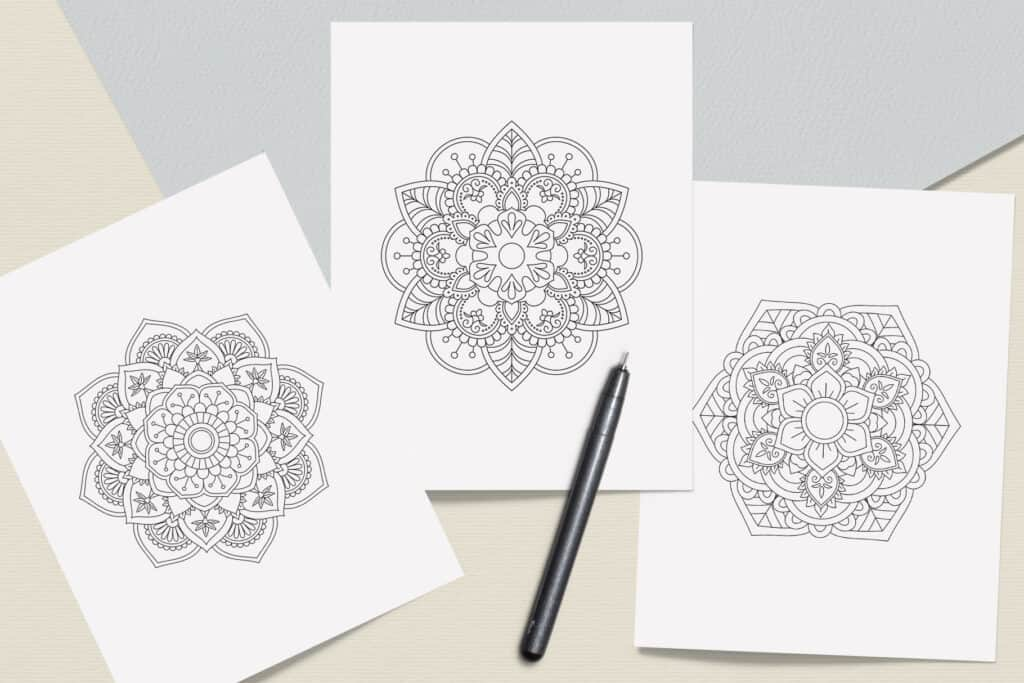 """prv7 1 1024x683 - Mandala Coloring Book PDF, 20 Pages, 8.5"""" x 11"""", Printable Digital Hand Drawn Coloring Pages, relaxation coloring for adults"""