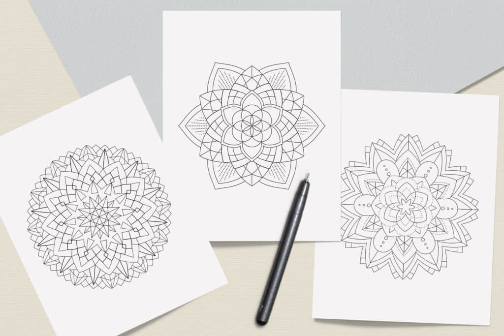 "prv7 1024x683 - Sacred Geometry Mandala Coloring Book PDF 20 Pages 8.5"" x 11"" Printable Digital Hand Drawn Coloring Pages, relaxation coloring for adults"