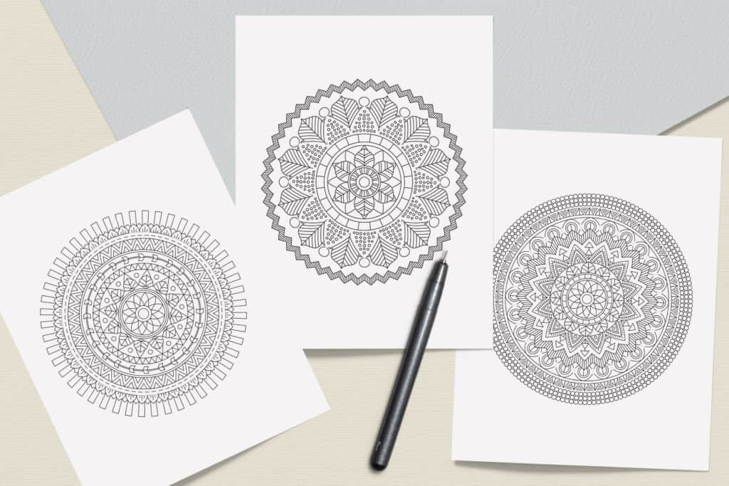 "prv7 2 1024x683 - Ethnic Mandala Coloring Book PDF, 20 Pages, 8.5"" x 11"", Printable Digital Hand Drawn Coloring Pages, Stress relief and relaxation Pages"