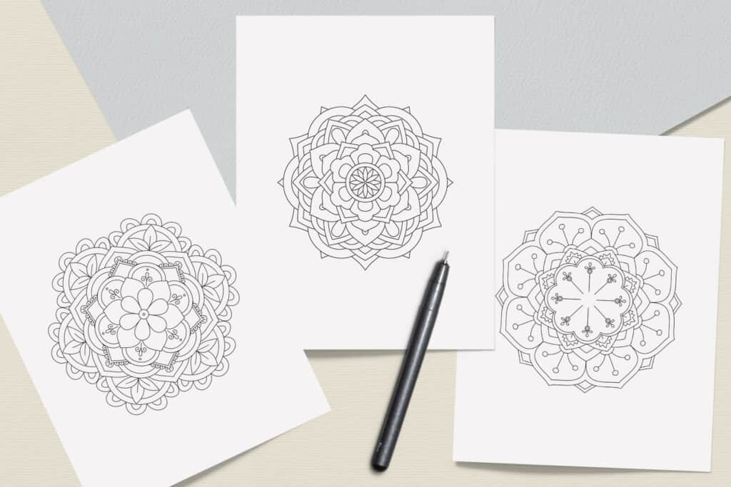 "prv7 3 1024x683 - Easy Mandala Coloring Book PDF, 20 Pages,  8.5 "" x 11"", Printable Digital Hand Drawn Coloring Pages, Stress relief and relaxation Pages"