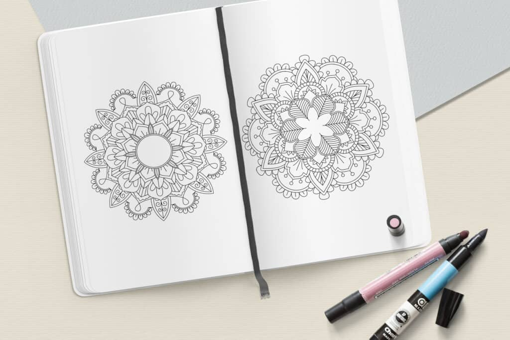 """prv8 1 1024x683 - Mandala Coloring Book PDF, 20 Pages, 8.5"""" x 11"""", Printable Digital Hand Drawn Coloring Pages, relaxation coloring for adults"""