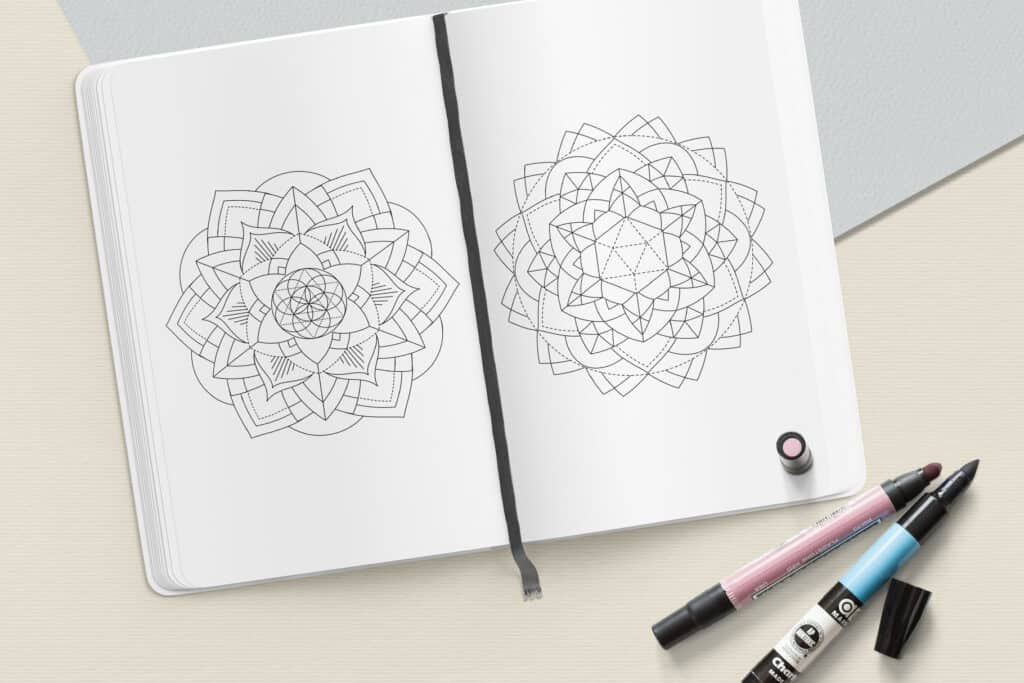 "prv8 1024x683 - Sacred Geometry Mandala Coloring Book PDF 20 Pages 8.5"" x 11"" Printable Digital Hand Drawn Coloring Pages, relaxation coloring for adults"