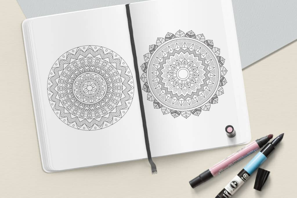 "prv8 2 1024x683 - Ethnic Mandala Coloring Book PDF, 20 Pages, 8.5"" x 11"", Printable Digital Hand Drawn Coloring Pages, Stress relief and relaxation Pages"