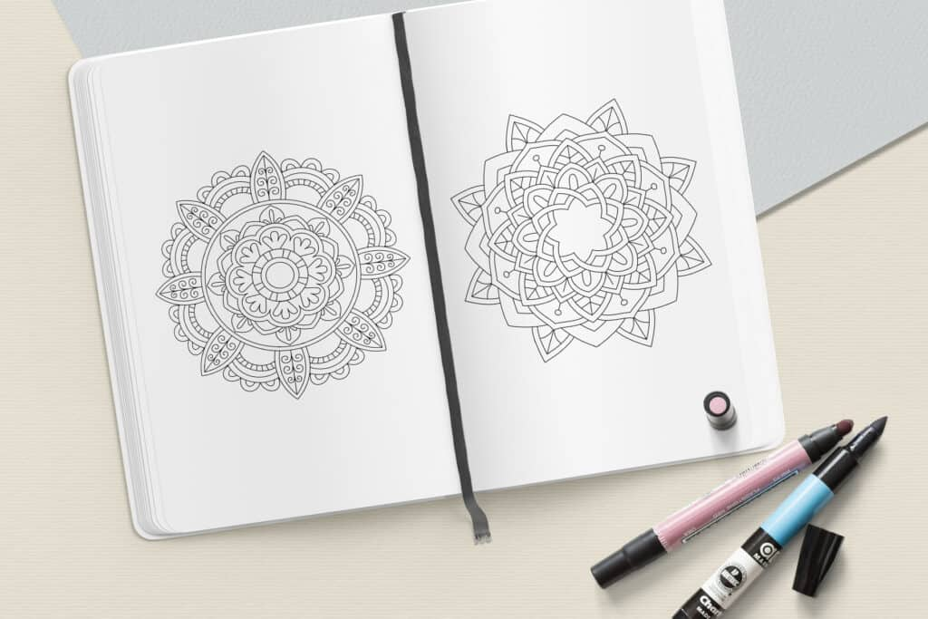 "prv8 3 1024x683 - Easy Mandala Coloring Book PDF, 20 Pages,  8.5 "" x 11"", Printable Digital Hand Drawn Coloring Pages, Stress relief and relaxation Pages"