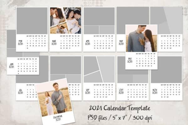 2021 Calendar Template, 5x7, Personalized Calendar