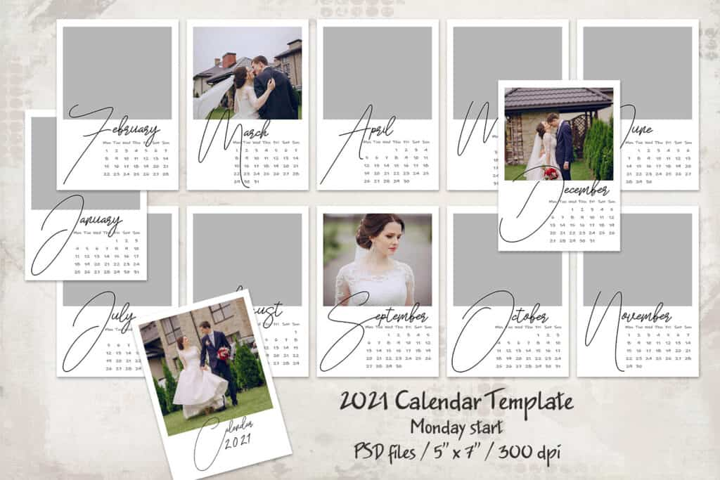 2021 prv 1 1024x683 - 2021 Calendar Template, Monday start 5x7