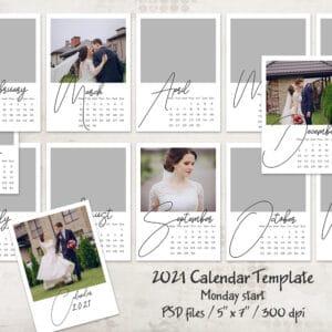 2021 Calendar Template, Monday start 5x7
