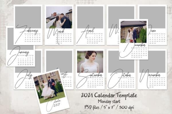2021 Calendar Template, Monday start 5×7