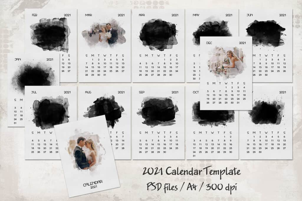 prv 1 1024x683 - 2021 Calendar Template with Watercolor Mask