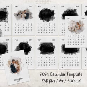 2021 Calendar Template with Watercolor Mask