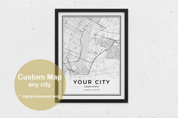 Custom City Map Digital Poster